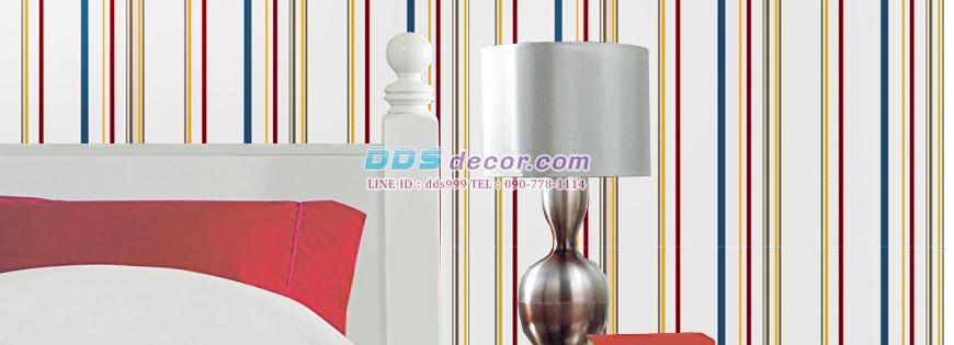 Wallpaperติดผนัง ลายทาง เส้นตรง สีสันสดใส
