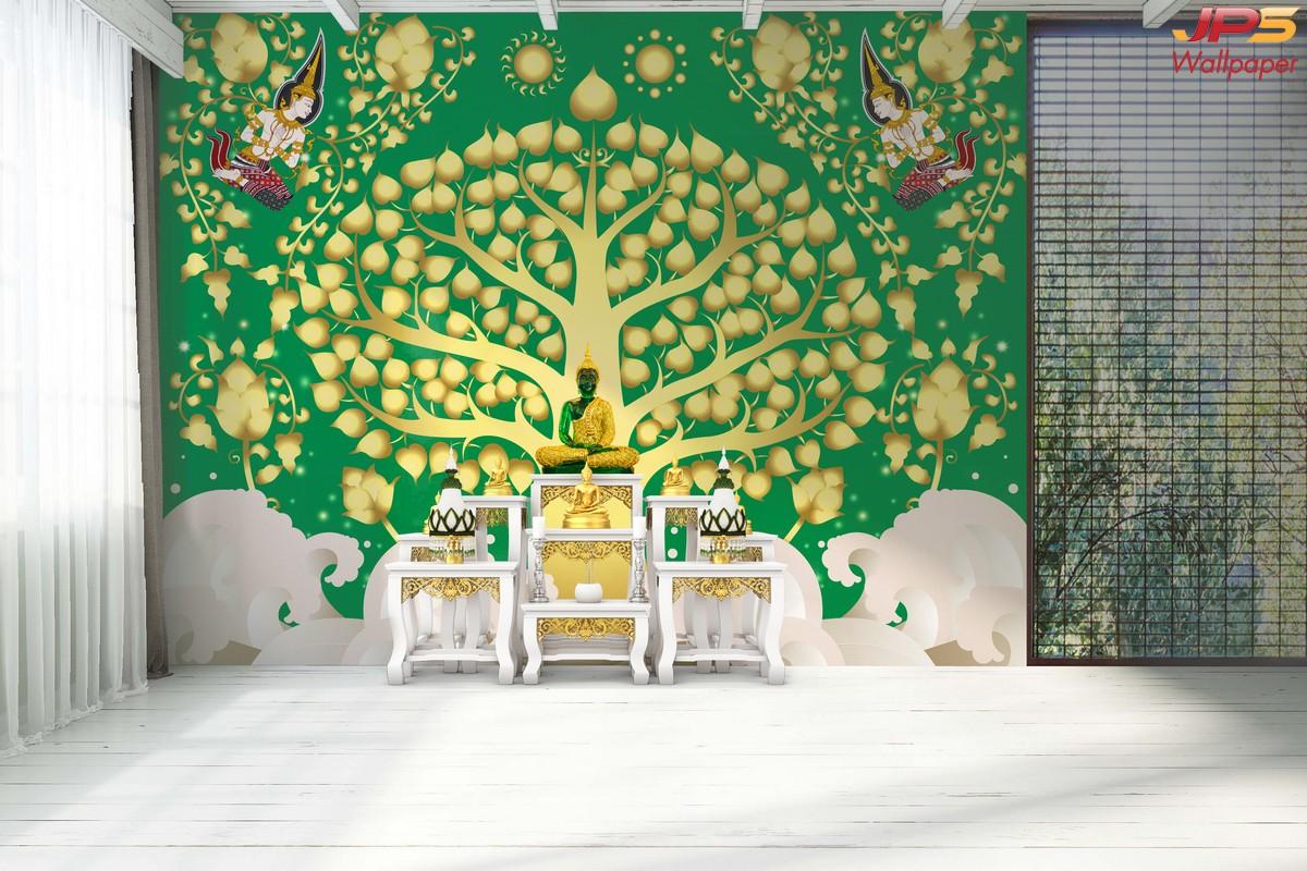 Wallpaper สั่งทำราคาถูกลายต้นโพธิ์ทอง ลายเทพพนม พื้นสีเขียว