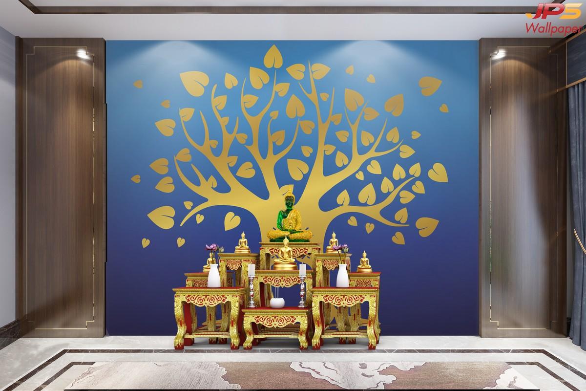 ขายวอลเปเปอร์ลายต้นโพธิ์ทอง พื้นสีน้ำเงิน