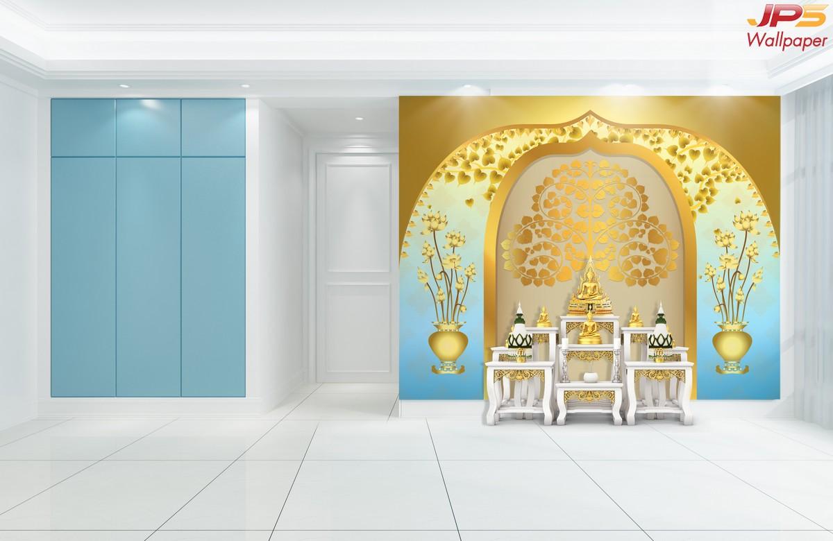 Wallpaper สวยๆลายต้นโพธิ์ ลายใบโพธิ์ พื้นสีฟ้าทอง