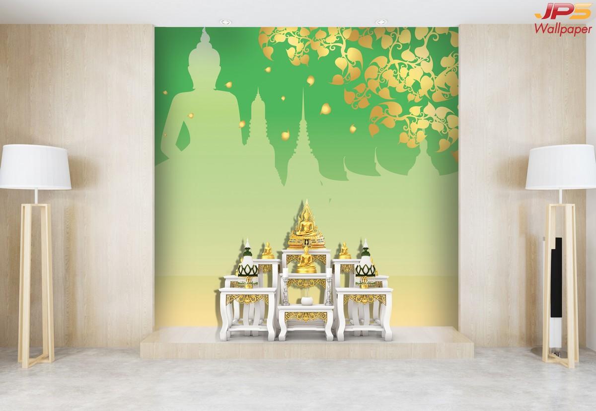 ตกแต่งห้องด้วยวอลเปเปอร์ลายไทยใบโพธิ์ พื้นหลังสีเขียว