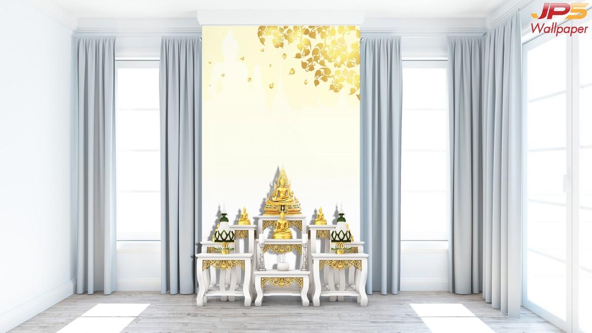 ร้านวอลเปเปอร์  ลายไทยใบโพธิ์ พื้นหลังสีทอง