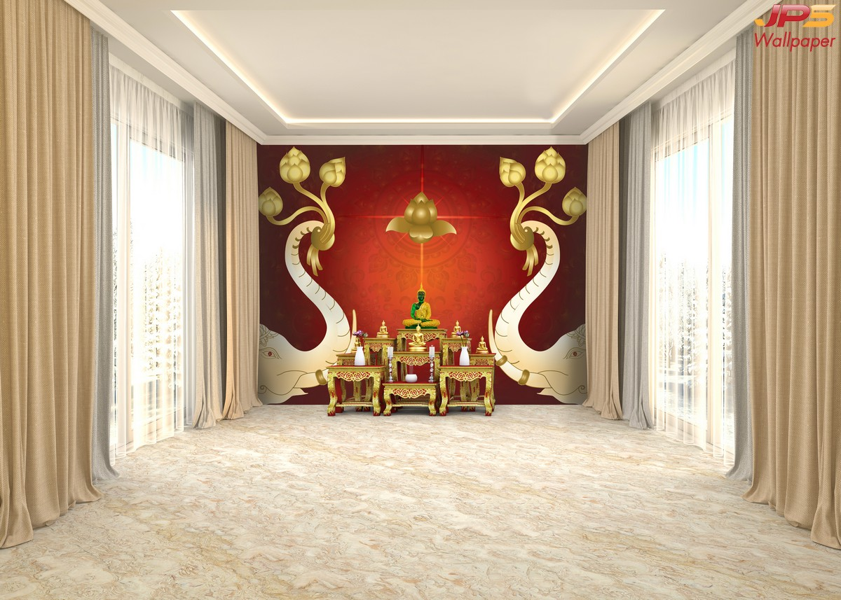 Wallpaper สั่งทำราคาถูก ลายไทยงวงช้าง พื้นหลังสีแดง