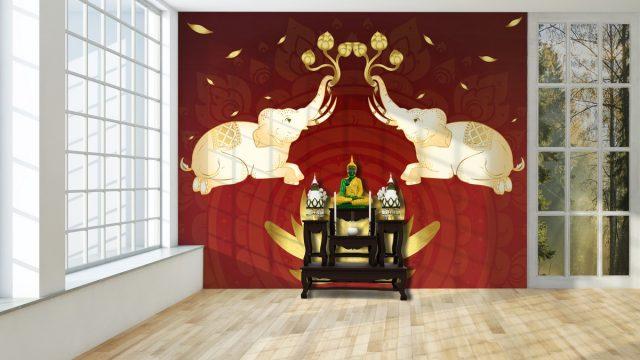 ติดวอลเปอร์สวย ลายไทยช้างคู่ พื้นหลังสีแดง