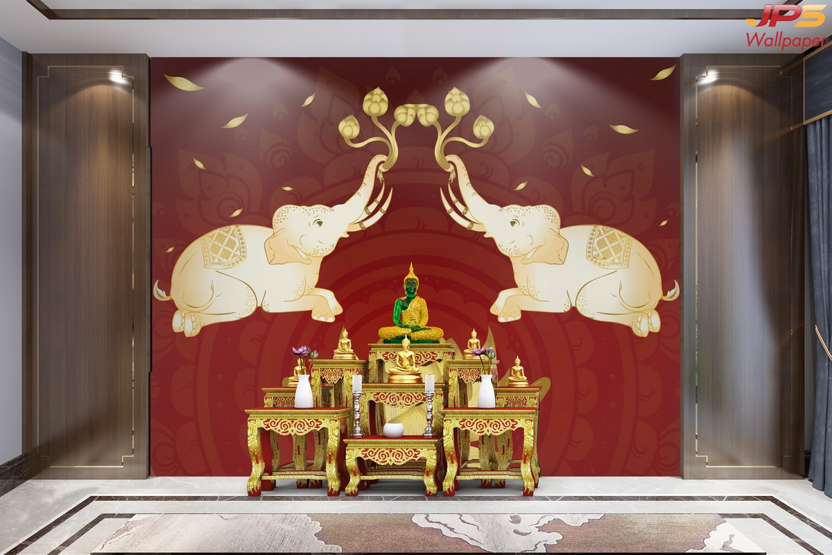วอเปอร์เปอร์สวยๆติดผนัง ลายไทยช้างคู่ พื้นหลังสีแดง