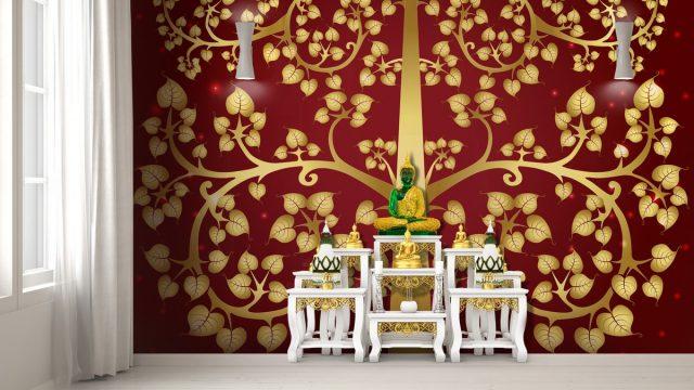 ขายวอลเปเปอร์สวยราคาถูก ลายไทยต้นโพธิ์ทอง พื้นหลังสีแดง