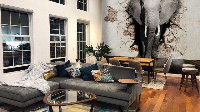 รับทําวอลเปเปอร์ตามสั่ง ลายช้าง ติดผนังห้องนั่งเล่น