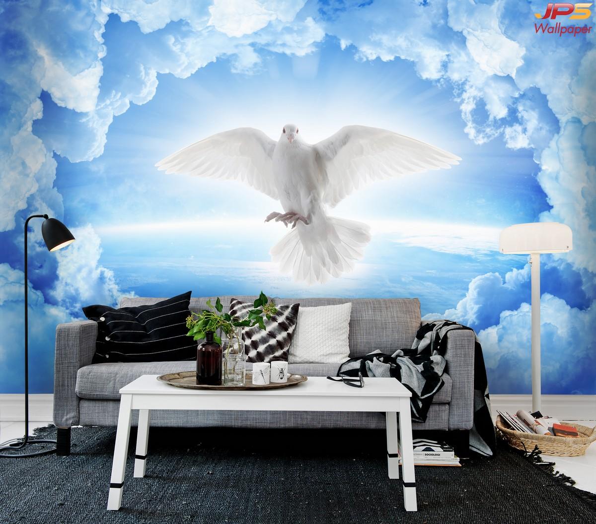 รับทําวอลเปเปอร์ตามสั่ง ติดห้องนั่งเล่น ลายนกพิราบขาวและก้อนเมฆ