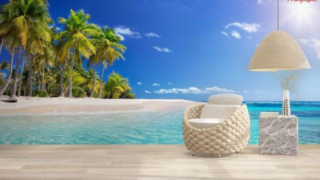 วอเปอร์เปอร์ผนัง ภาพพิมพ์วิวทะเล และหาดทรายสีขาว