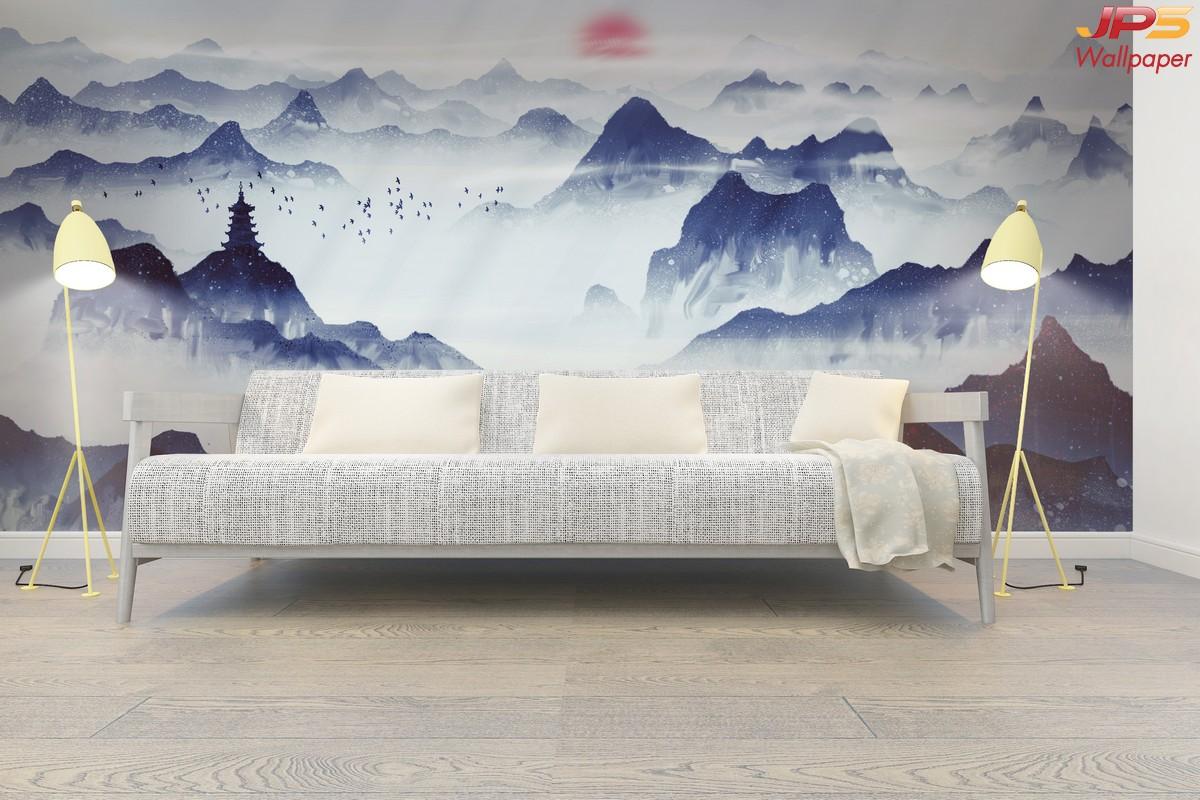 แต่งบ้านสวยด้วยวอลเปเปอร์ติดผนัง ลายภูเขา ภาพวาดจีน