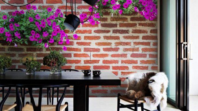 ขายวอลเปเปอร์ ติดห้องทานอาหาร ลายดอกไม้สีม่วง