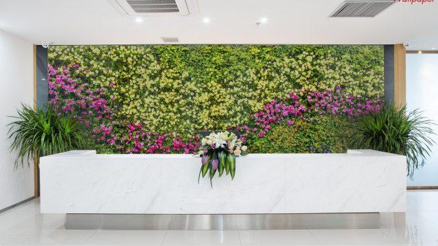 Wallpaper สั่งทำราคาถูก ติดฉากหลัง ลายสวนดอกไม้