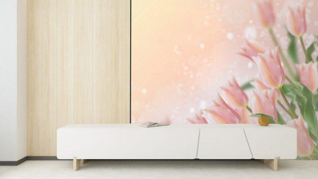 รับทําวอลเปเปอร์ตามสั่ง ติดห้องนั่งเล่น ลายดอกไม้สีชมพู