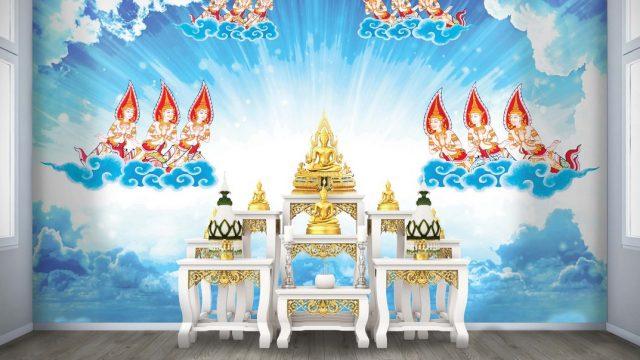 รับทําวอลเปเปอร์ตามสั่ง พรีเมี่ยมลายไทย เทพพนม พื้นสีฟ้าขาว