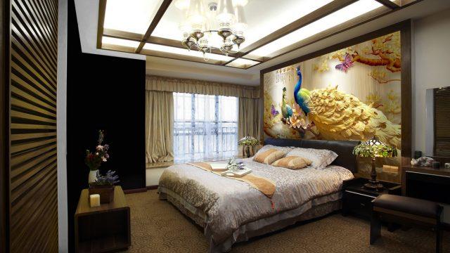 ขายวอลเปเปอร์ ภาพมงคลติดห้องนอน ปริ้นวอลเปเปอร์ราคาถูก ลายนกยูง ตกแต่งภายในบ้านหรู