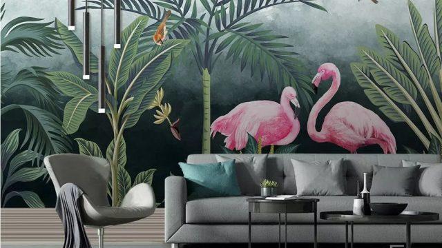 Wallpaper สั่งทำราคาถูก วอลเปเปอร์สไตล์ทรอปิคอล ลายสวนป่านกฟลามิงโก้ สีชมพู ติดผนังห้องรับแขก