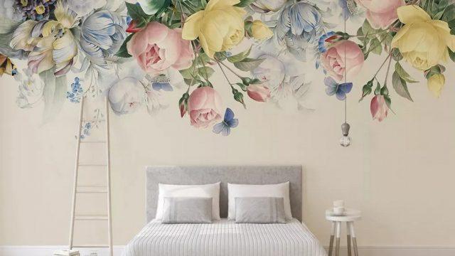 วอเปอร์เปอร์ผนัง ลายดอกไม้หลากสี3D ติดผนังห้องรับแขก