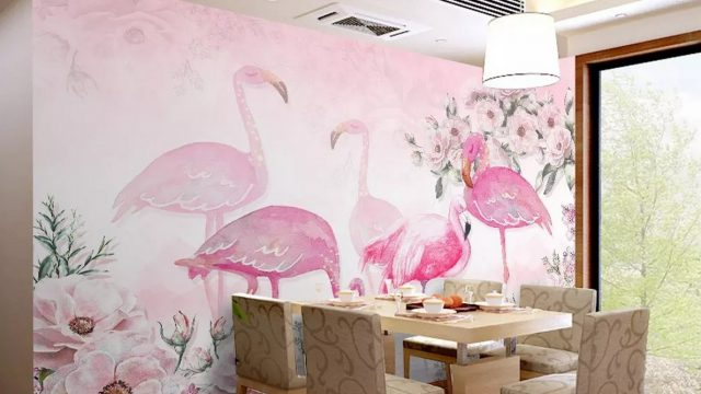 วอเปอร์เปอร์สวยๆ ลายนกฟลามิงโก้สีชมพู ติดผนังห้องรับประทานอาหาร