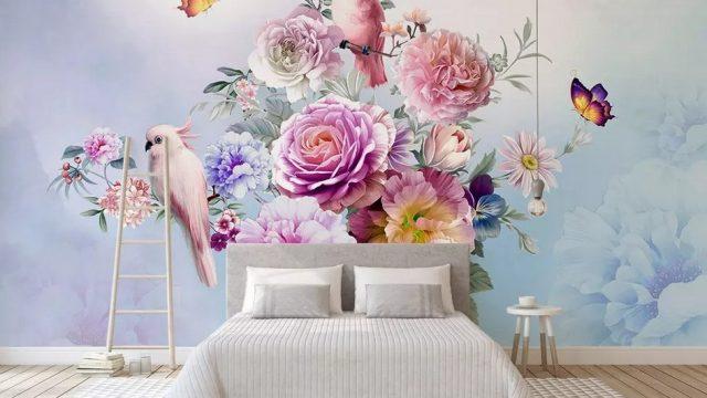 แต่งบ้านสวยด้วยวอลเปเปอร์ติดผนัง ลายสวนดอกไม้สไตล์อังกฤษ ติดผนังห้องนอน
