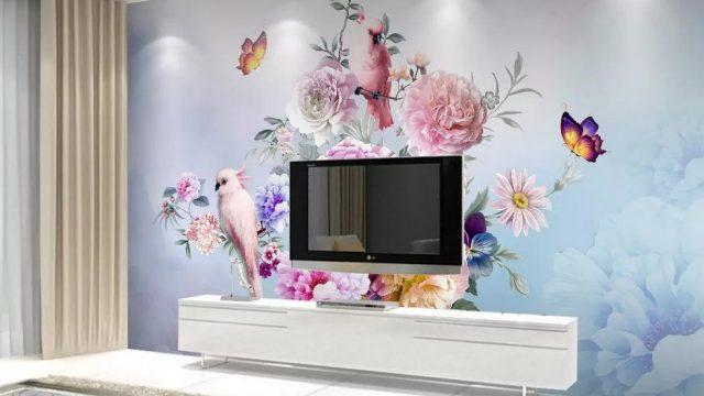 ขายวอลเปเปอร์สวยราคาถูก ลายสวนดอกไม้สไตล์อังกฤษ ติดผนังห้องรับแขก