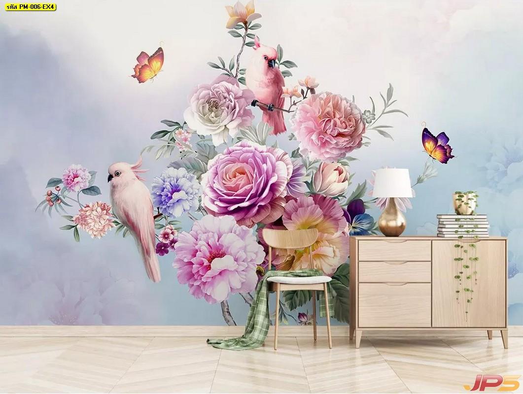 ร้านวอลเปเปอร์ ลายสวนดอกไม้สไตล์อังกฤษ ติดผนังห้องรับแขก