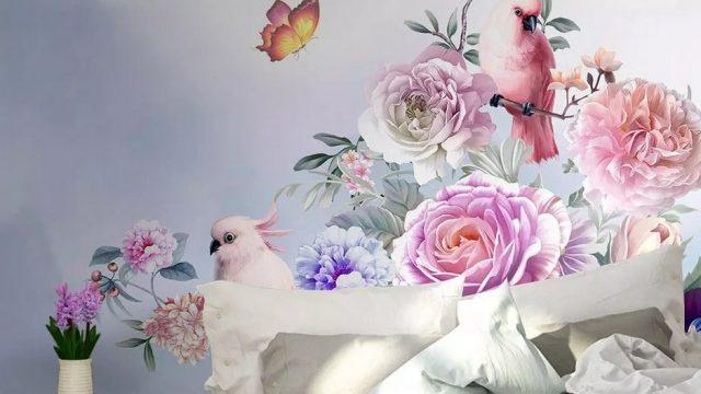 Wallpaper สั่งทำราคาถูก ลายสวนดอกไม้สไตล์อังกฤษ ติดผนังห้องนอน