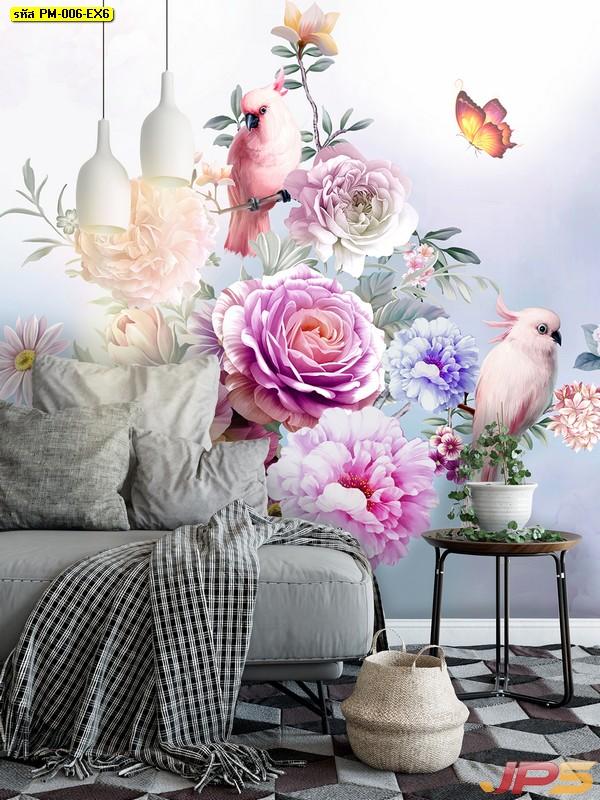 ขายวอลเปเปอร์ ลายสวนดอกไม้สไตล์อังกฤษ ติดผนังห้องรับแขก