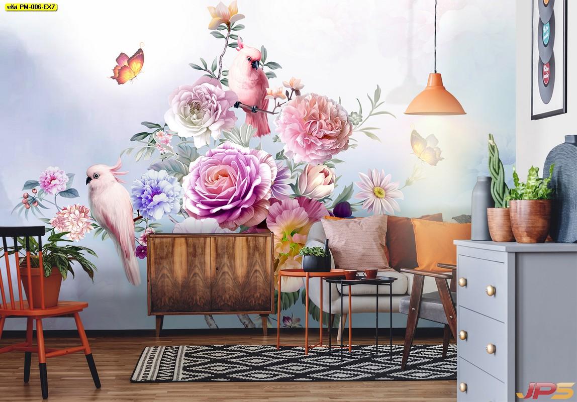 รับทําวอลเปเปอร์ตามสั่ง ลายกราฟิก3Dสวนดอกไม้สไตล์อังกฤษ ติดผนังห้องรับแขก