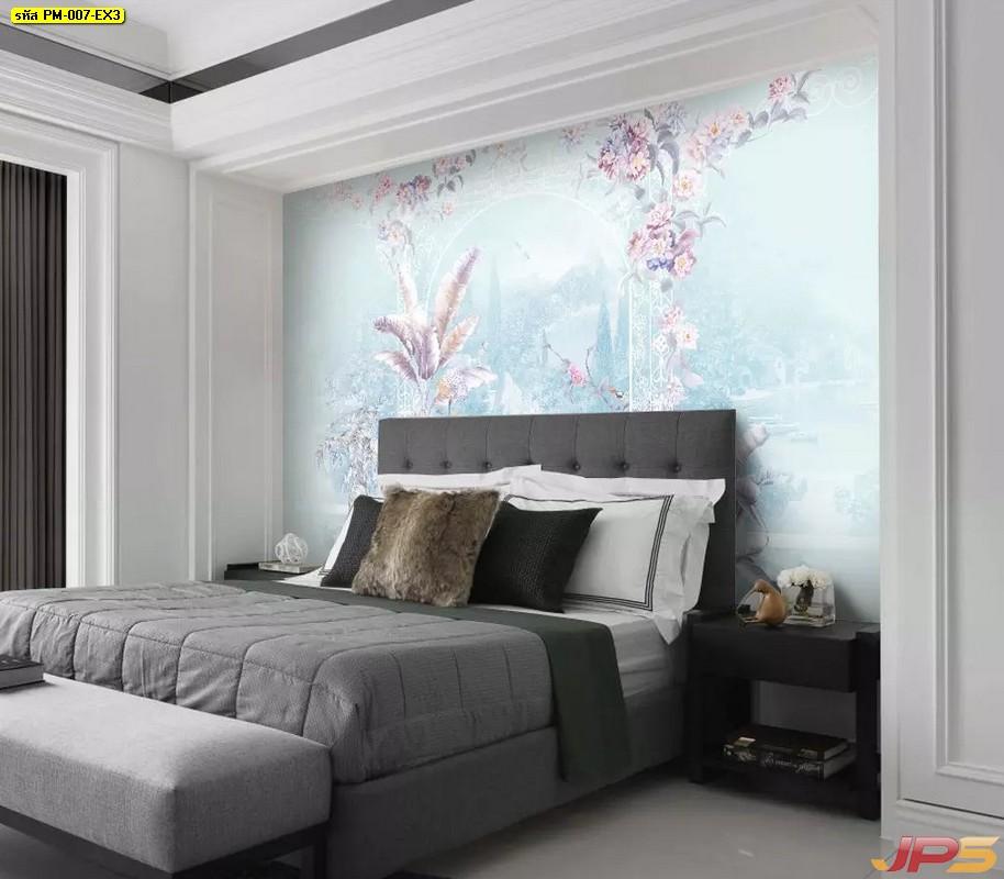ติดวอลเปอร์สวย สวนดอกไม้สีพาสเทล ติดผนังห้องนอน