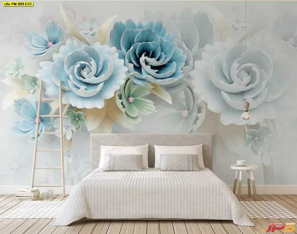 ร้านขายวอลเปเปอร์ ลายดอกไม้3Dขาวฟ้า ติดผนังห้องนอน