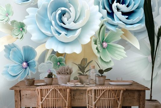ขายวอลเปเปอร์ ลายดอกไม้3Dขาวฟ้า ติดผนังห้องรับแขก