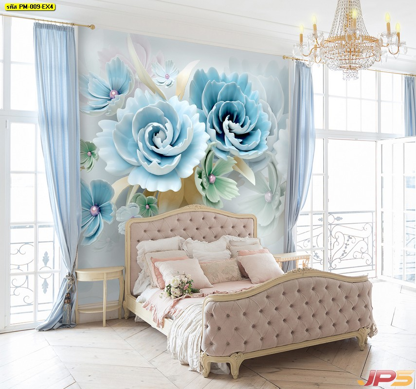 รับทําวอลเปเปอร์ตามสั่ง   ลายดอกไม้3Dขาวฟ้า ติดผนังห้องนอน