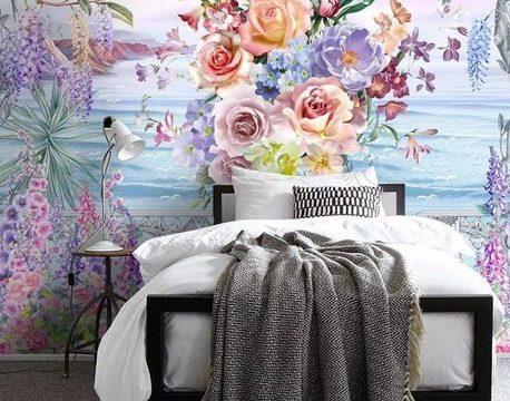 วอเปอร์เปอร์ผนัง ภาพวาดสวนดอกไม้ริมทะเล ติดผนังห้องรับแขก