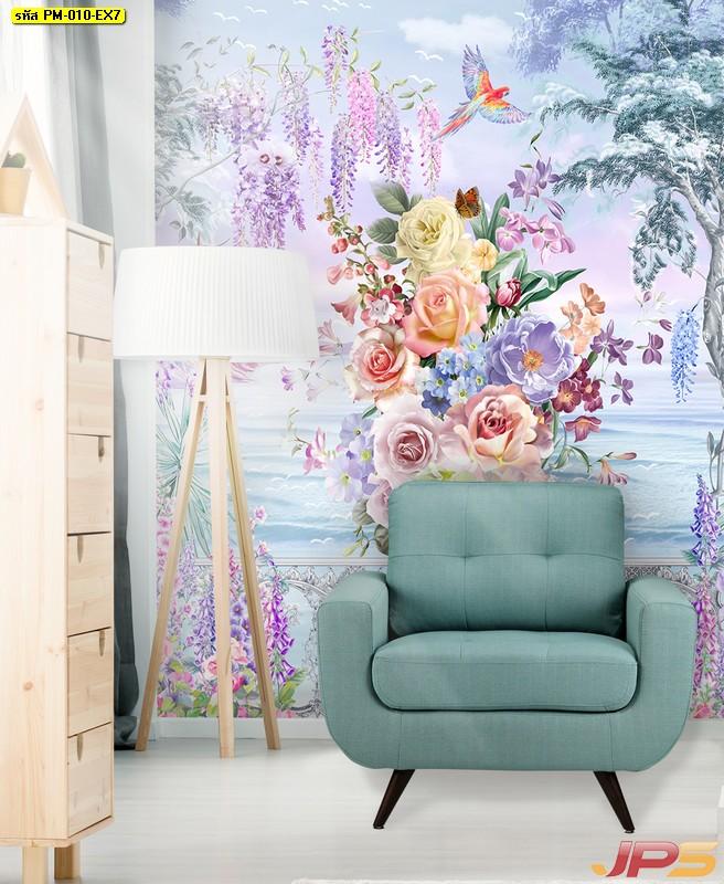 ร้านวอลเปเปอร์ ลายภาพวาดสวนดอกไม้ริมทะเล ติดผนังห้องรับแขก