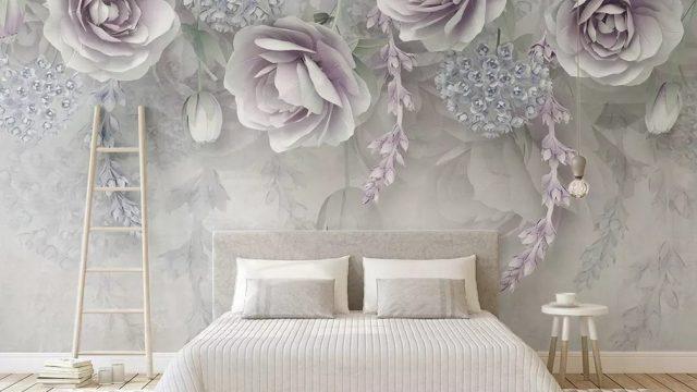 ร้านขายวอลเปเปอร์ ลายดอกไม้ขาวอมม่วง3D ติดผนังห้องนอน