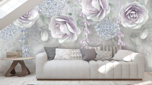 ขายวอลเปเปอร์ ลายดอกไม้ขาวอมม่วง3D ติดผนังห้องรับแขก