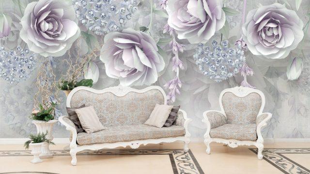 รับทําวอลเปเปอร์ตามสั่ง ลายดอกไม้ขาวอมม่วง3D ติดผนังห้องรับแขก