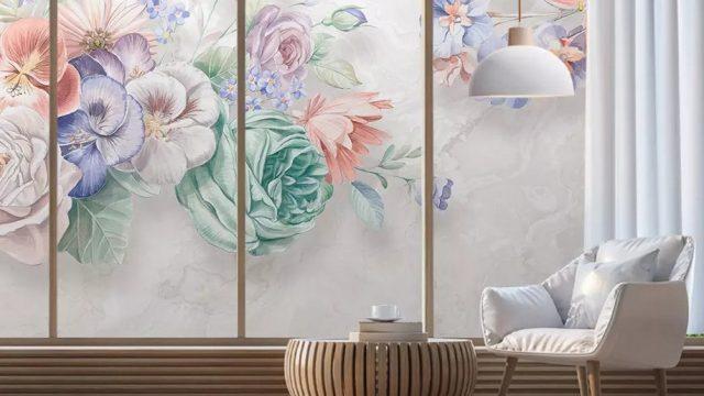 วอเปอร์เปอร์สวยๆ ภาพวาดดอกไม้หลายสี3มิติ ติดผนังห้องนั่งเล่น