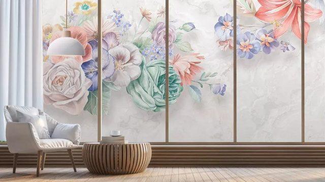 ติดวอลเปอร์สวย ภาพวาดดอกไม้หลายสี3มิติ ติดผนังห้องนั่งเล่น