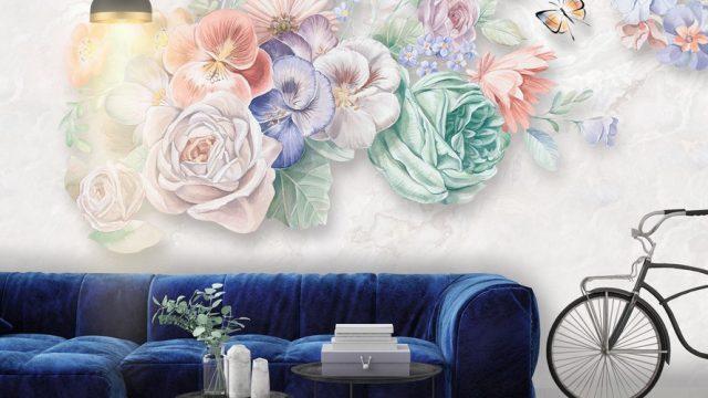 ขายวอลเปเปอร์สวยราคาถูก ลายภาพวาดดอกไม้หลายสี3มิติ ติดผนังห้องนั่งเล่น