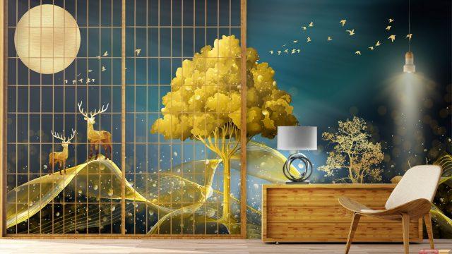Wallpaper สั่งทำราคาถูก ภาพพิมพ์ฮวงจุ้ย กวางเรนเดียร์ชมจันทร์ กับ ต้นไม้สีทอง ติดผนังภายบ้านให้น่าอยู่