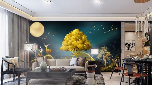 ขายวอลเปเปอร์ ภาพพิมพ์เสริมมงคล กวางเรนเดียร์ชมจันทร์ กับ ต้นไม้สีทอง ติดผนังห้องนั่งเล่น