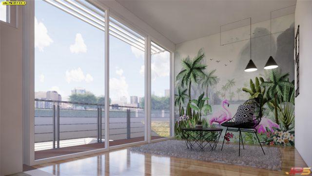 แต่งบ้านสวยด้วยวอลเปเปอร์ติดผนัง ลายนกฟลามิงโก้สวนป่า ติดผนังห้องนั่งเล่น