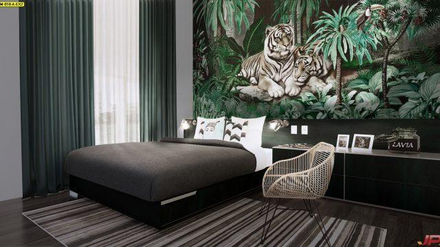ขายวอลเปเปอร์ ลายสวนป่าเสือโคร่ง ติดผนังห้องนอน