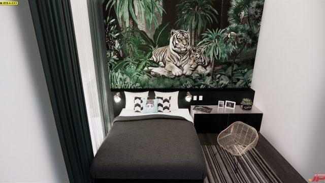 รับทําวอลเปเปอร์ตามสั่ง ลายสวนป่าเสือโคร่ง ติดผนังห้องนอน