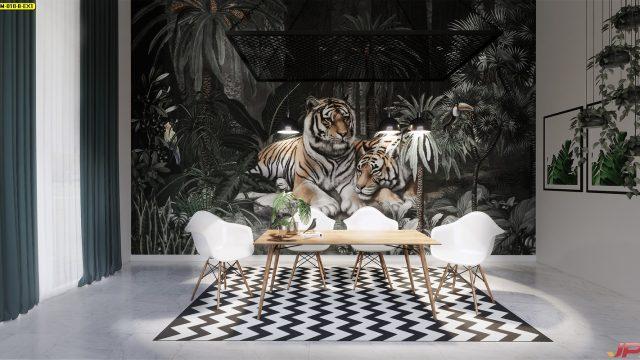 วอเปอร์เปอร์สวยๆ ลายสวนป่าเสือโคร่ง ติดผนังห้องรับประทานอาหาร
