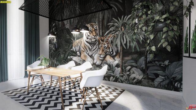 ติดวอลเปอร์สวย สวนป่าเสือโคร่ง ติดผนังห้องรับประทานอาหาร
