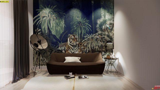 แต่งบ้านสวยด้วยวอลเปเปอร์ติดผนัง ลายสวนป่าเสือโคร่ง ติดผนังห้องนั่งเล่น