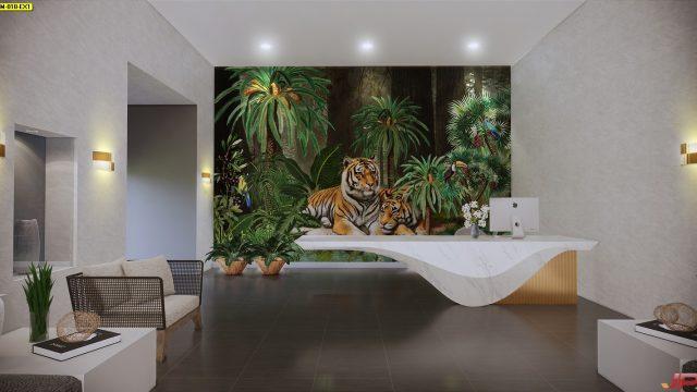 Wallpaper สั่งทำราคาถูก ลายสวนป่าเสือโคร่ง ตกแต่งภายในบ้านหรู