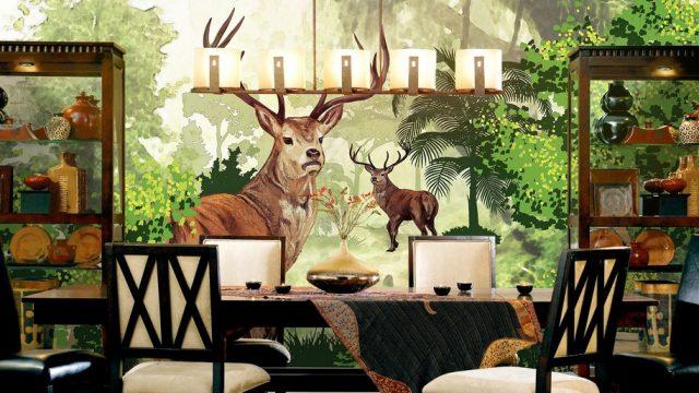 วอเปอร์เปอร์สวยๆติดผนัง ลายสวนป่ากวางคู่ ติดผนังห้องรับประทานอาหาร